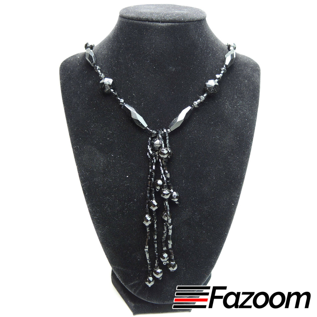 Black Bead 26-inch Necklace with Drop Beads - Fazoom