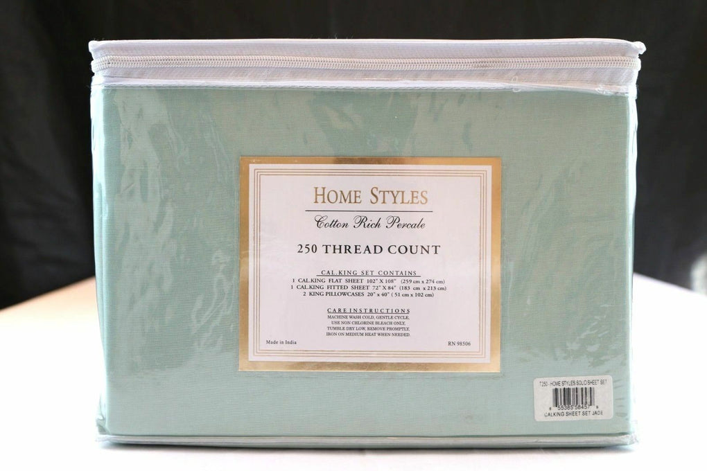 Home Styles 250 Thread Count Solid Sheet Set (California King, Jade Green) - Fazoom