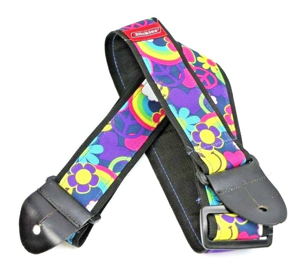 Dickies Flowers Smiley Face Peace Hearts Hippie Rainbows Guitar Strap - fazoom