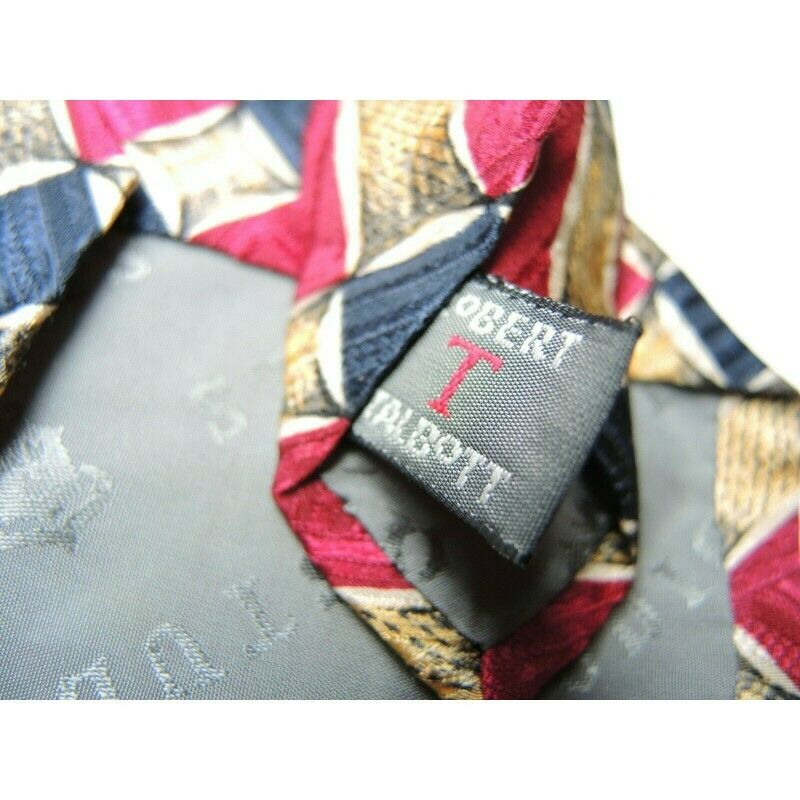 Robert Talbott Studio for Parisian Geometric Rectangles Squares Silk Necktie - fazoom