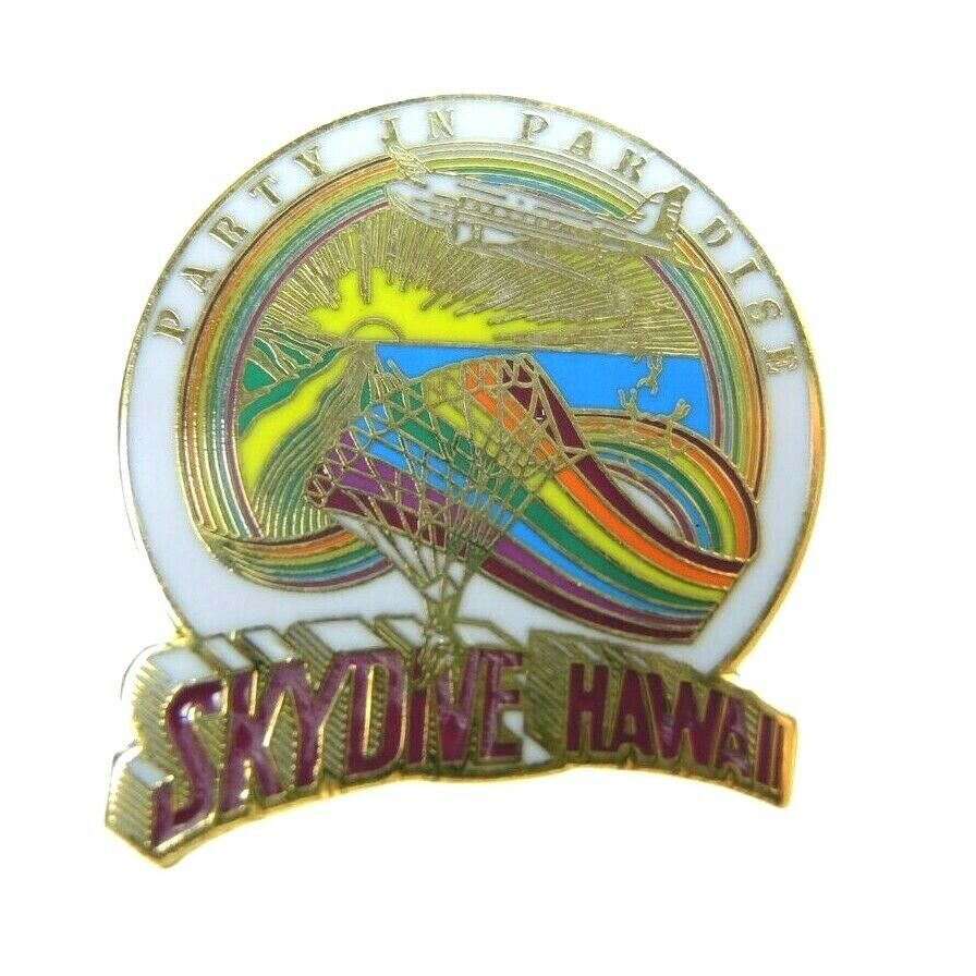 Skydive Hawaii Party in Paradise Skydiving Lapel Pin - fazoom