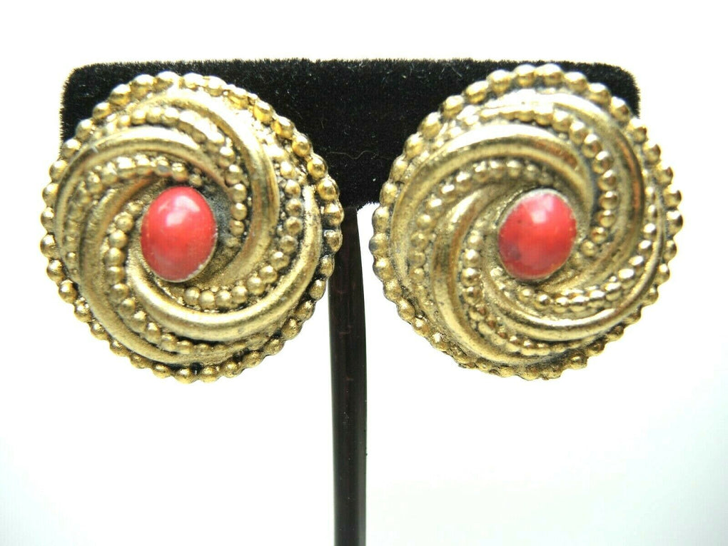 Red Oval Center Round Metal 33mm Clip-On Earrings ~ Vintage Costume Jewelry - fazoom