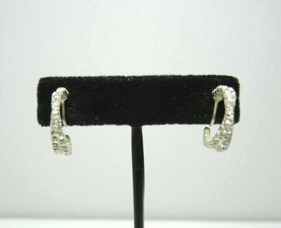 Silver Tone Crescent Twist Rhinestones Vintage Clip-On Earrings ~ Costume Jewelry - fazoom