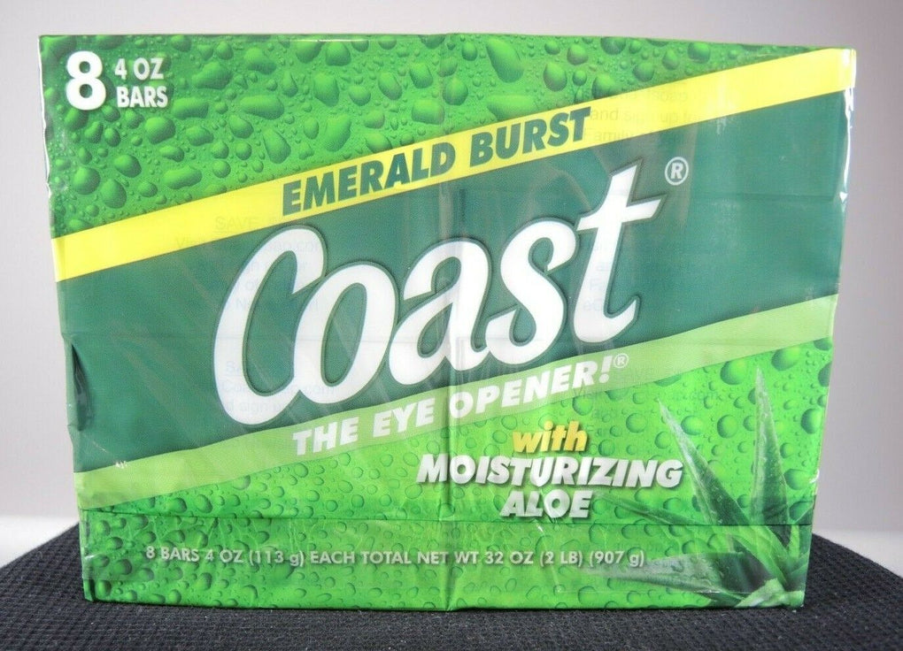 Coast Deodorant Bath Soap Emerald Burst with Moisturizing Aloe ~ 8 - 4oz Bars - Fazoom