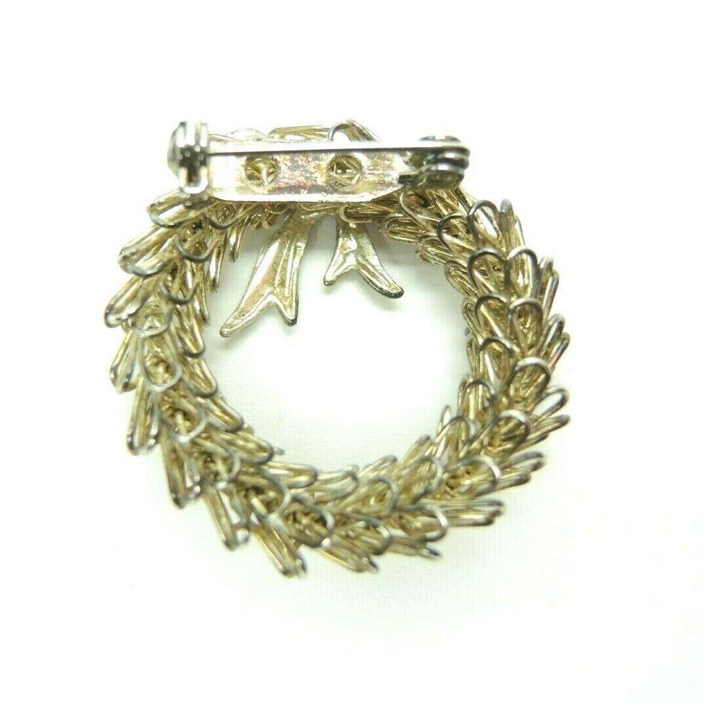 Christmas Wreath Wire 1.3-inch Round Vintage Unsigned Gold-Tone Brooch Lapel Pin - fazoom