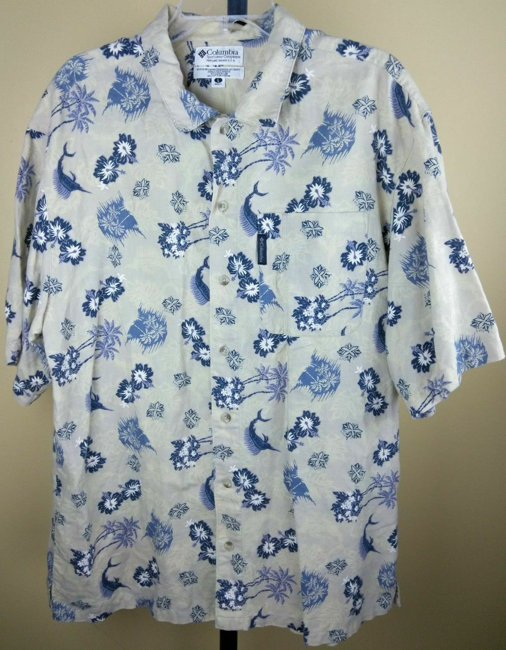 COLUMBIA Marlin Fish Linen Button-Down Hawaiian Men's Camp Shirt LARGE SS - Fazoom