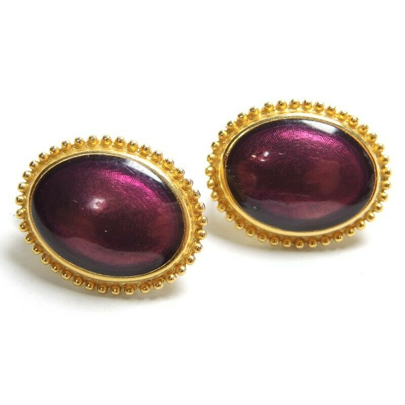 Trifari Garnet Red Oval Gold Tone Vintage Clip-On Earrings ~ Jewelry - Fazoom