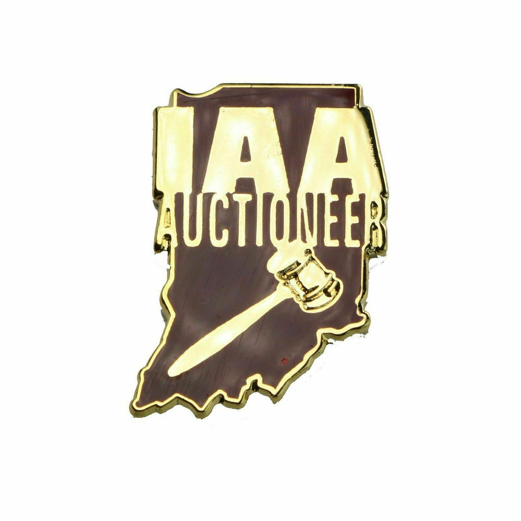 Indiana Auctioneers Association State Outline Lapel Pin - Fazoom