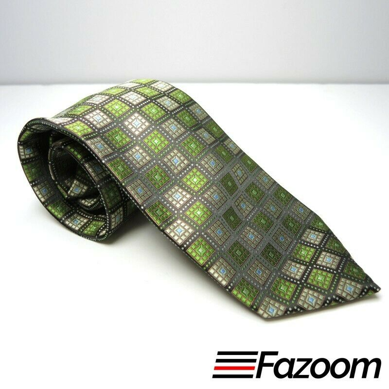 Stafford Essentials Brown Geometric Squares Polyester Necktie - fazoom
