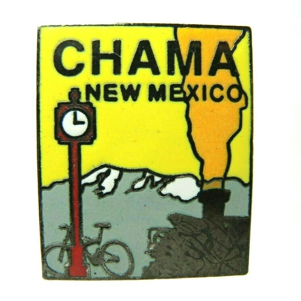 Chama New Mexico Bike Train Clock Mountain Scene Souvenir Lapel Pin - fazoom