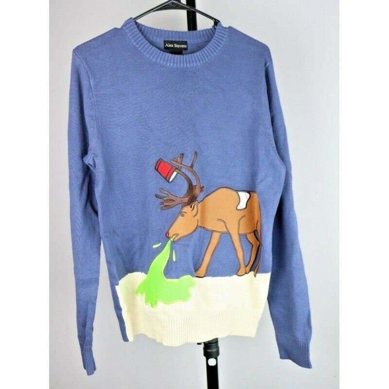 Ugly Christmas Sweater: Hungover Reindeer Drunk & Puking - Size Medium - fazoom