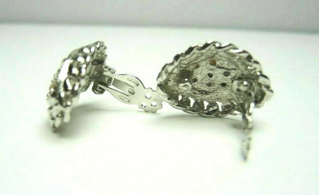 Silver Tone Rhinestones Oval Vintage Clip-On Earrings ~ Fashion Costume Jewelry - Fazoom