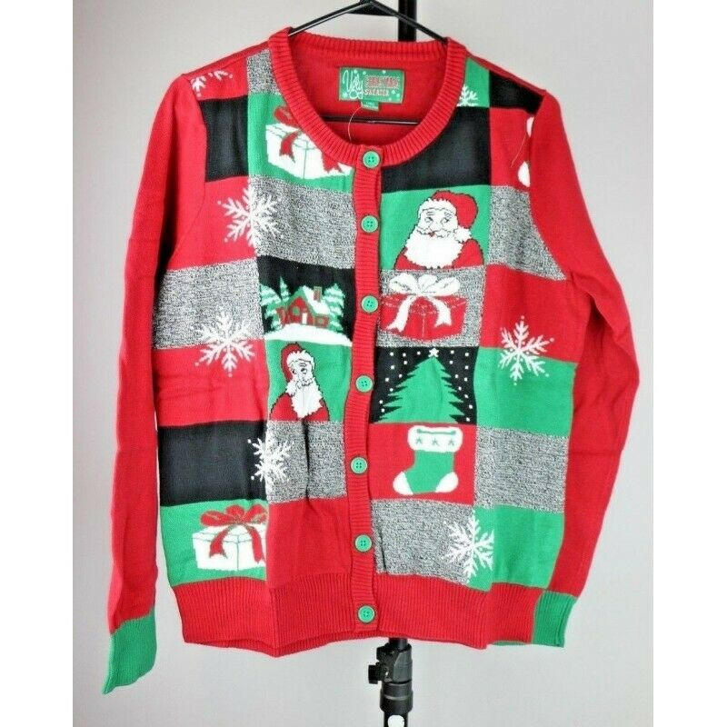 Ugly Christmas Sweater: Button Up with Santa Claus Presents & Tree - Size Medium - fazoom