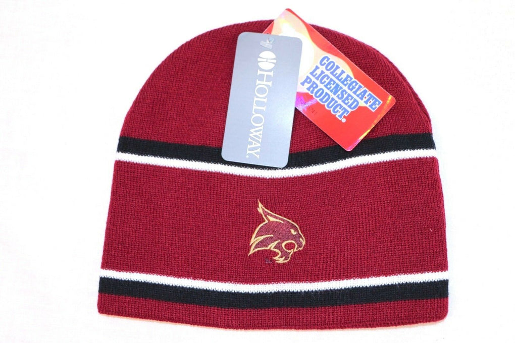 Texas State Bobcat NCAA Engager Stocking Hat Beanie O/S Maroon/Black/White - fazoom