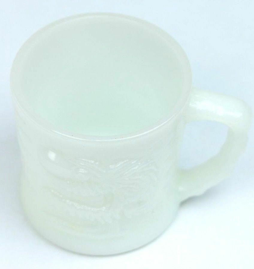 ANCHOR HOCKING FIRE KING Johnny Hart B.C.Comic GROG Milk Glass Coffee Mug - fazoom