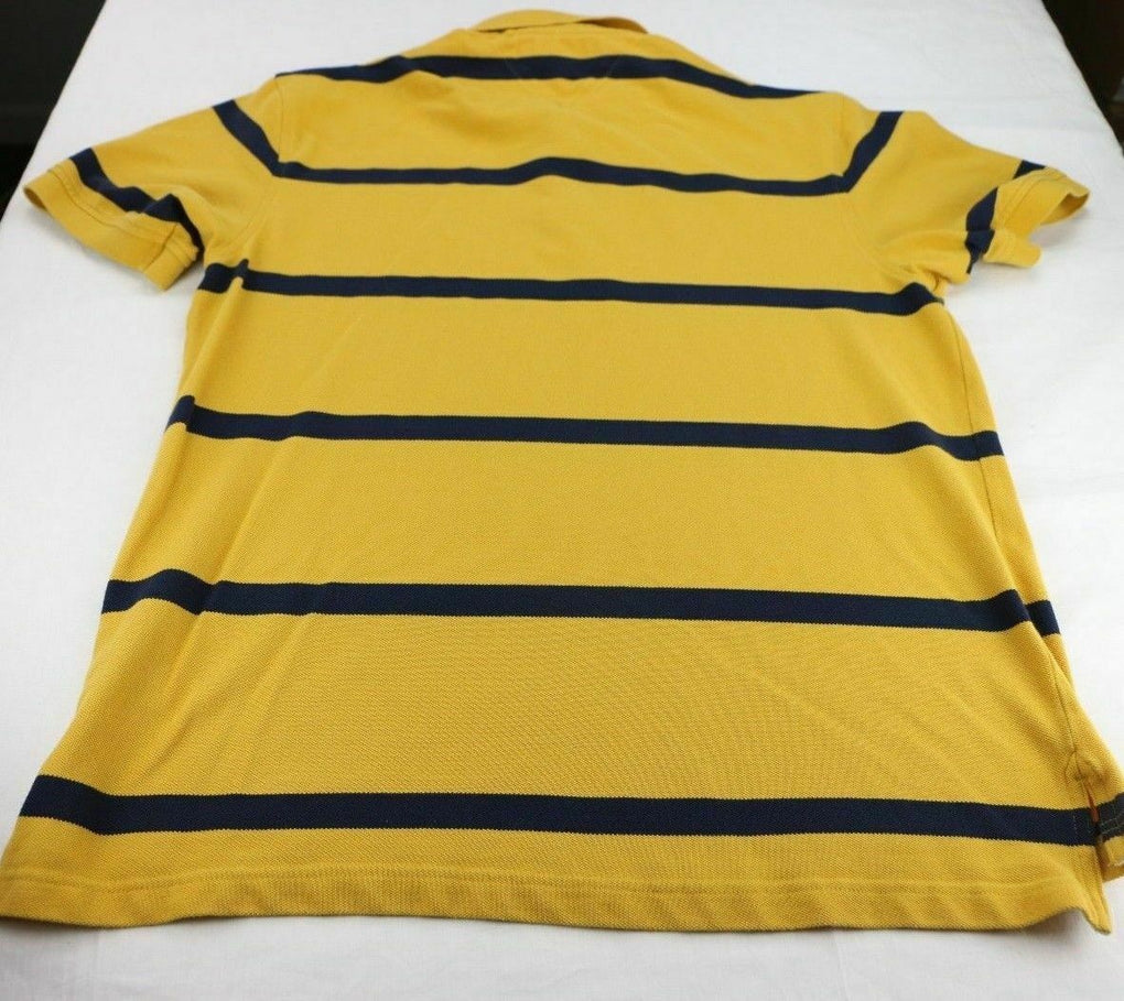 Tommy Hilfiger Striped Polo Shirt Yellow Top Size Large - Fazoom