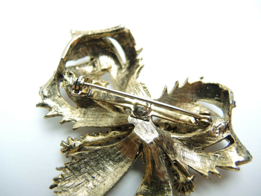 Bow with Faux Pearls & Rhinestones 2.8-inch Vintage Unsigned Brooch Lapel Pin - fazoom