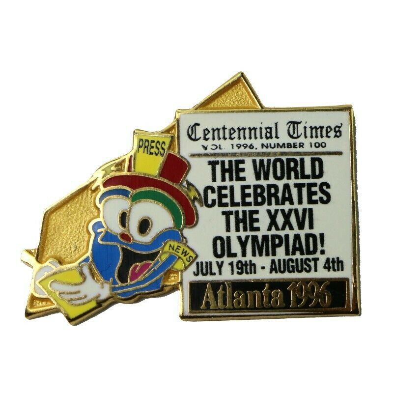 1996 Atlanta Summer Olympics Centennial Times Press Izzy Mascot Lapel Pin - fazoom