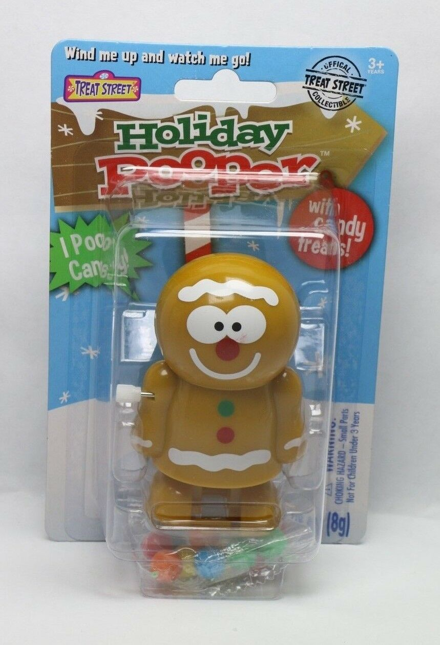 Holiday Pooper Treat Street Collectible Candy Dispenser Gingerbread Man Toy - fazoom