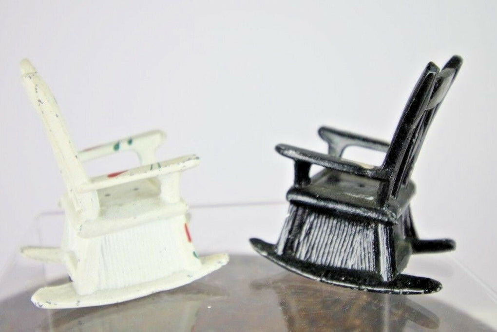 Vintage Rocking Chair Floral Salt & Pepper Shakers Black & White Cast Iron - Fazoom