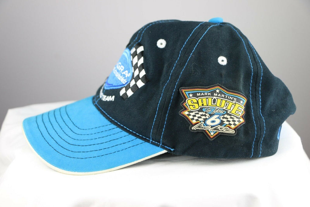 Mark Martin Viagra #6 Roush Racing NASCAR Black Adjustable Strapback Hat Cap - fazoom