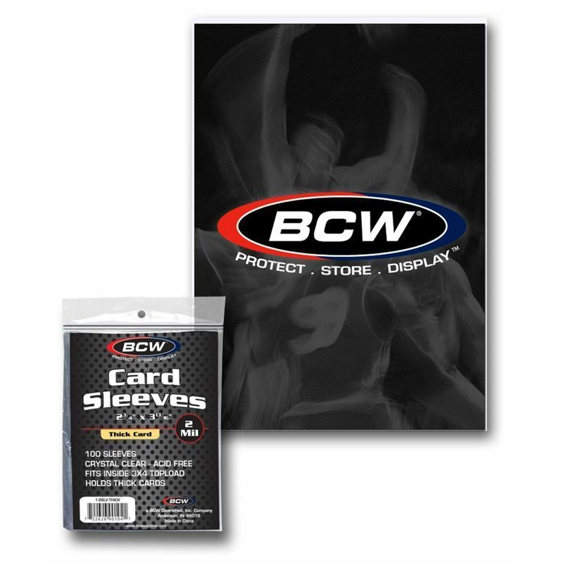 100 (1 pack) BCW Thick Card Sleeves ~ Holds Thicker Trading Cards - fazoom