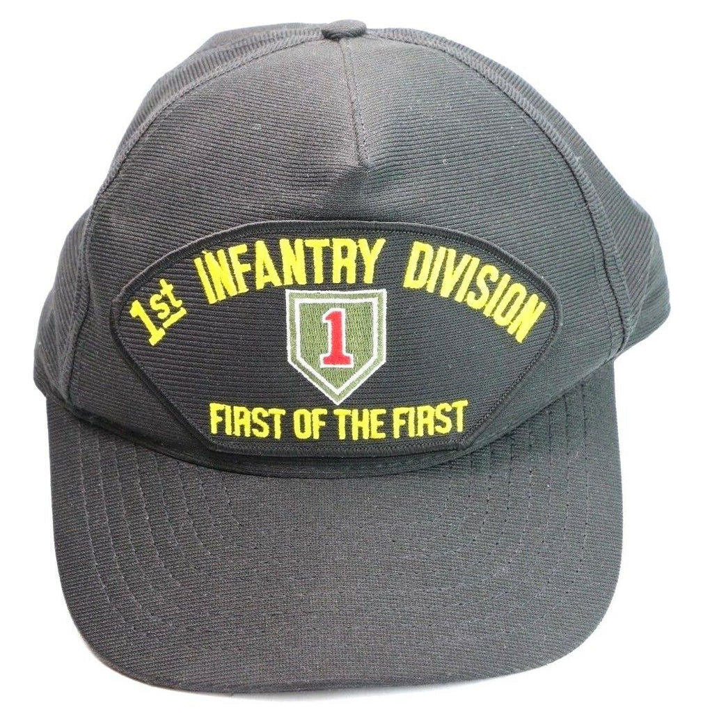 US Army 1st Infantry Division Patch Black Adjustable Baseball Hat Cap - Fazoom