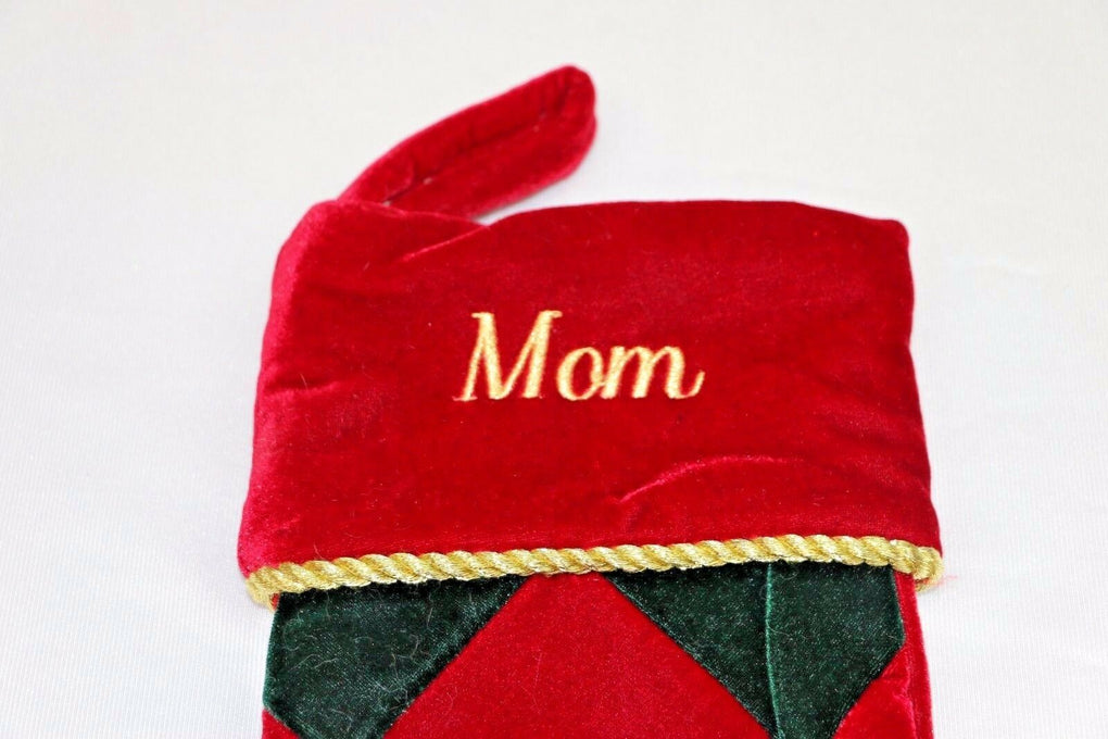 Mom Embroidered Christmas Stocking Diamond Pattern Red Green - fazoom