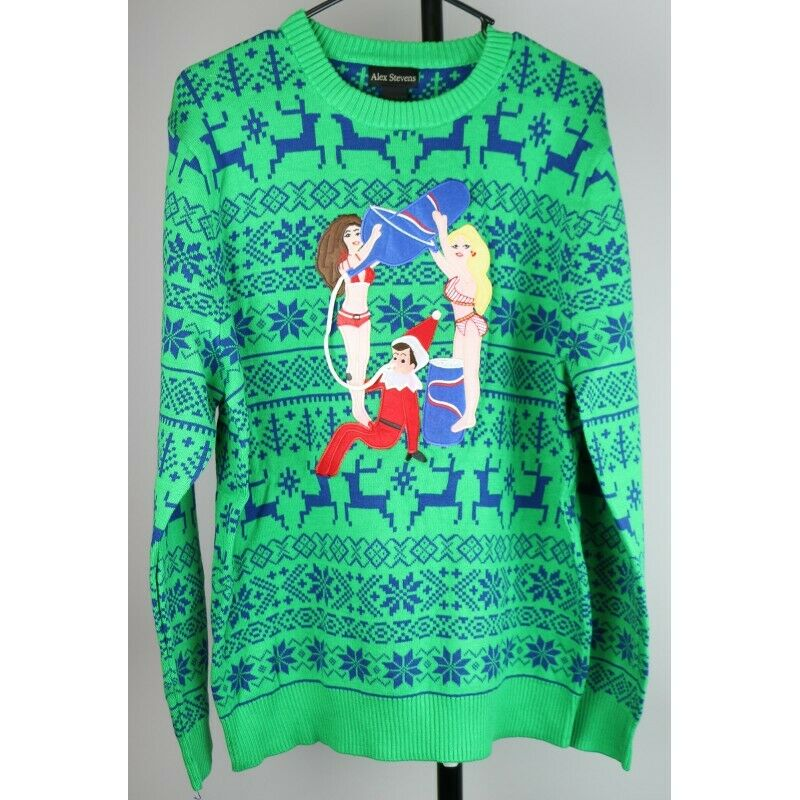 Ugly Christmas Sweater: Elf with Beer Bong Partying - Size XL - Fazoom