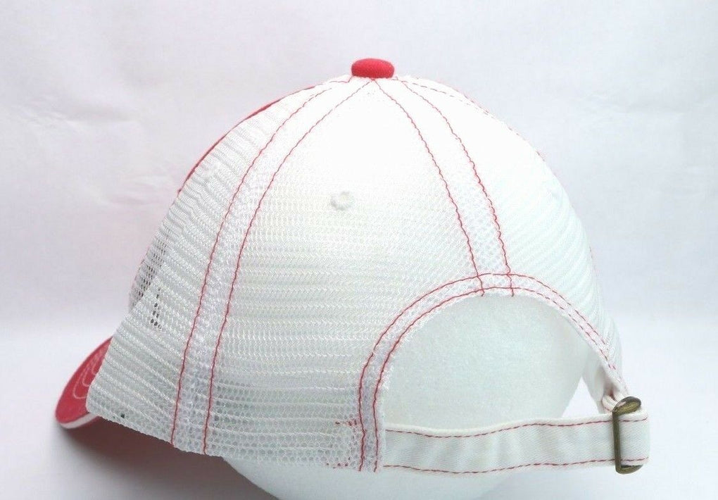 ABC American Building Components Red White Adjustable Trucker Strapback Hat Cap - Fazoom