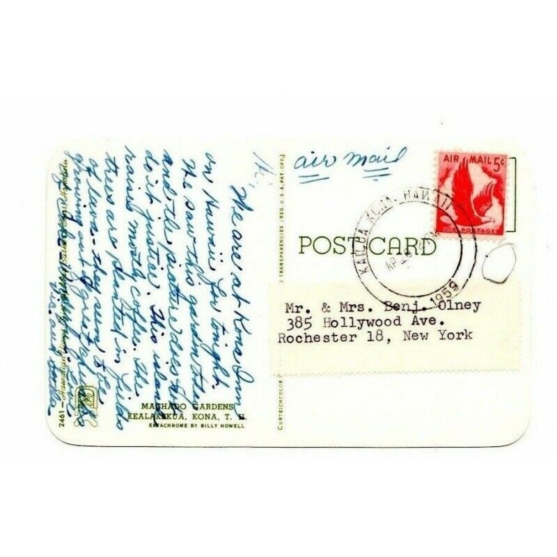 Machado Gardens Hawaii Kealakekua Postcard 2461 Red Eagle Airmail 5-Cent Stamp - Fazoom