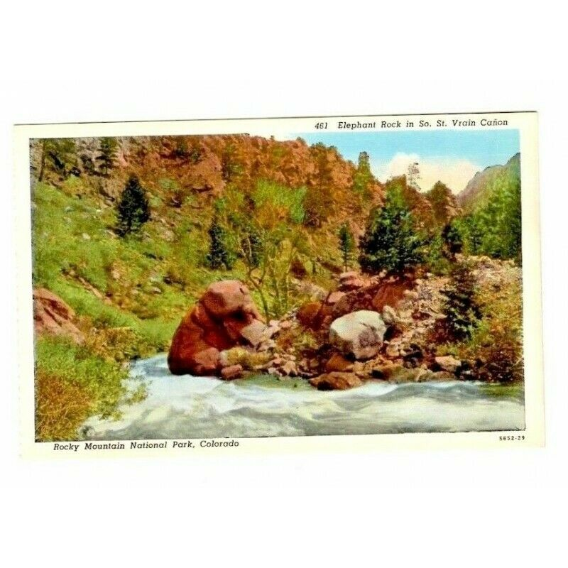 Elephant Rock St. Vrain Canon Rocky Mountains Linen USA Postcard 461 5652-29 - Fazoom