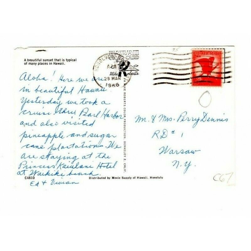 Sunset Hawaii Postcard C4810 6-Cent Red Eagle Airmail Stamp - fazoom
