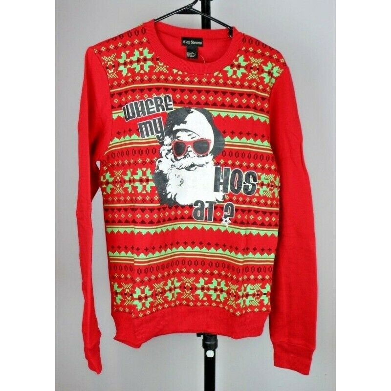Ugly Christmas Sweater: Santa Claus 'Where My Ho's At?' - Size Small - Fazoom
