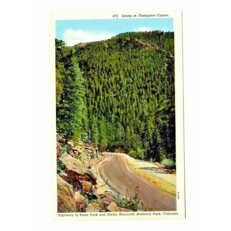 Scene in Thompson Canon Rocky Mountains Linen USA Vintage Postcard 475 7A706 - Fazoom