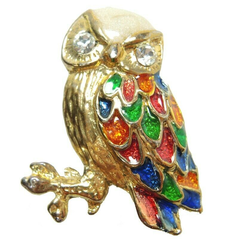 Owl Gold Tone Brooch Lapel Pin Vintage - Fazoom