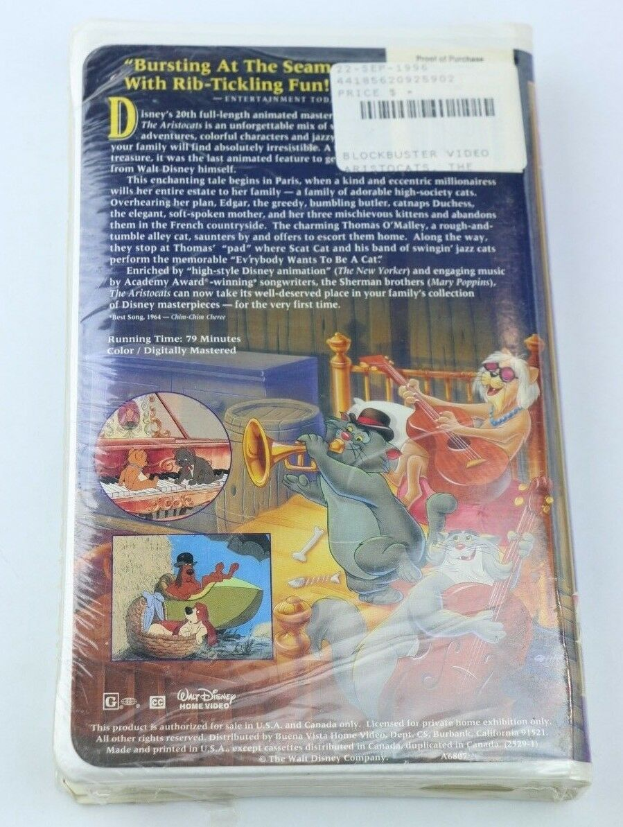 Walt Disney's Masterpiece, The Aristocats (VHS, 1996) Video Tape Clamshell - Fazoom