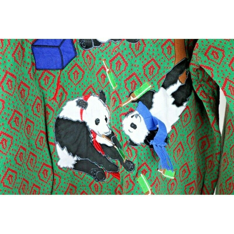 Ugly Christmas Sweater: Drunk Panda Party - Size XL - Fazoom