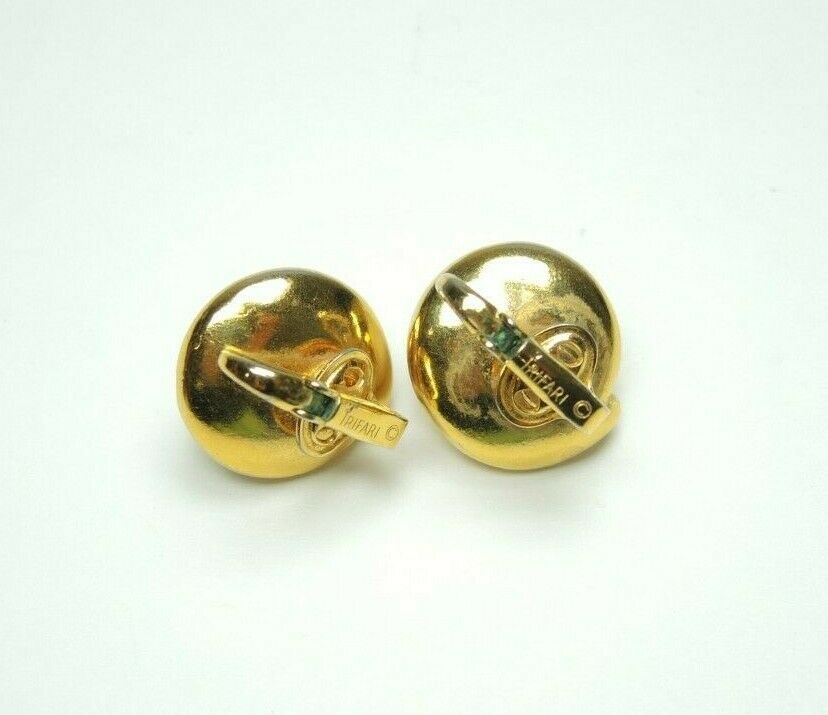 Trifari Hallmarked Gold-Tone Pearls Round Button Style Clip-on Earrings Vintage - fazoom