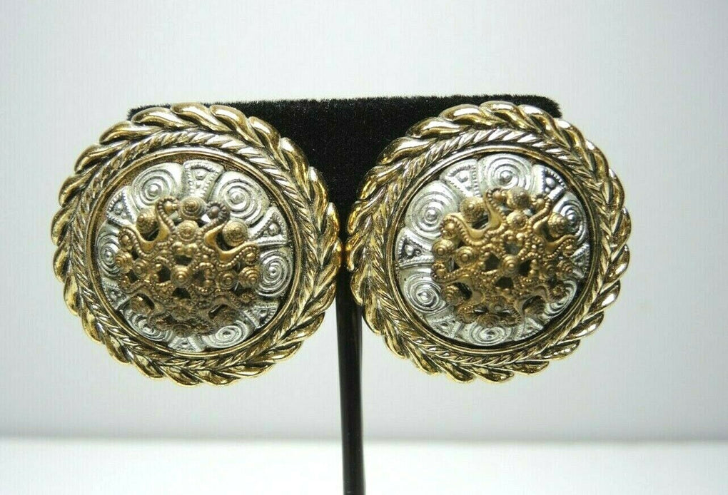 Golden Plastic Shield Large Vintage Clip-On Earrings ~ Fashion Costume Jewelry - Fazoom
