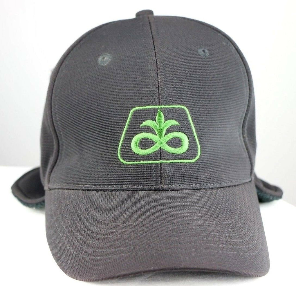 Pioneer Seeds Farming Logo Black Fitted OS Hat Cap Fold Down Ear Muffs Warmers - Fazoom