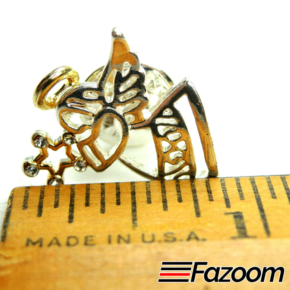 Silver-Tone Angel and Star Lapel Pin with Rhinestones - fazoom