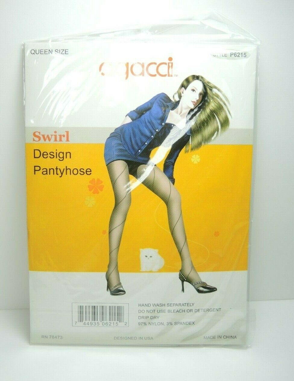 Agacci Women's Pantyhose Stockings Sheer Swirl Design Navy Queen Size 1X-3X - Fazoom