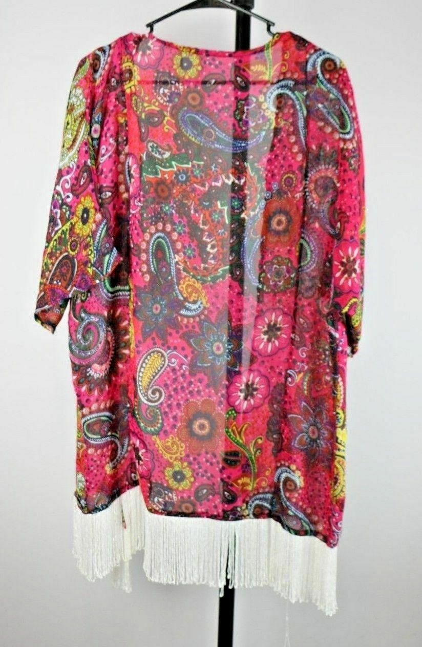 Lava Sheer Paisley Hippie Fringe Coverup Open Blouse ONE SIZE - fazoom