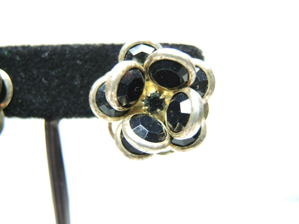 Silver Tone Black Stones Vintage Clip-On Earrings ~ Fashion Costume Jewelry - Fazoom