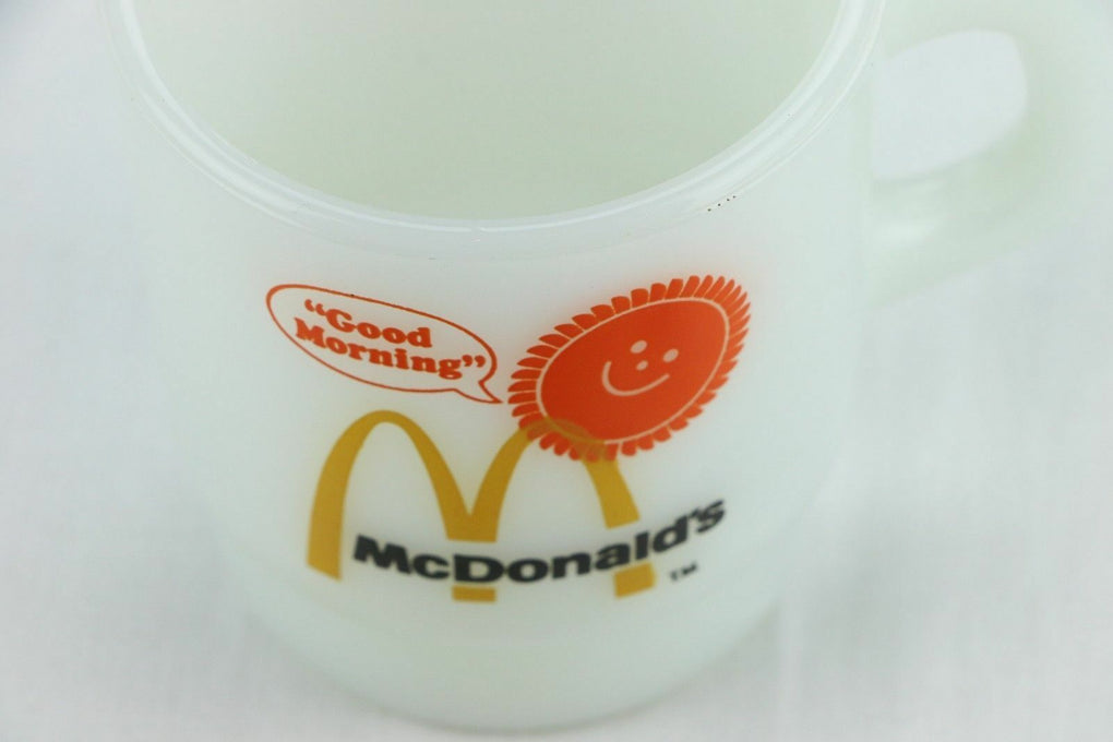 McDonald's Breakfast Club Fireking Milkglass Mug Arches Fire King Anchor Hocking - Fazoom