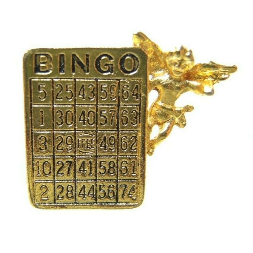 BINGO Guardian Angel Gold Tone Vintage Lapel Pin - Fazoom