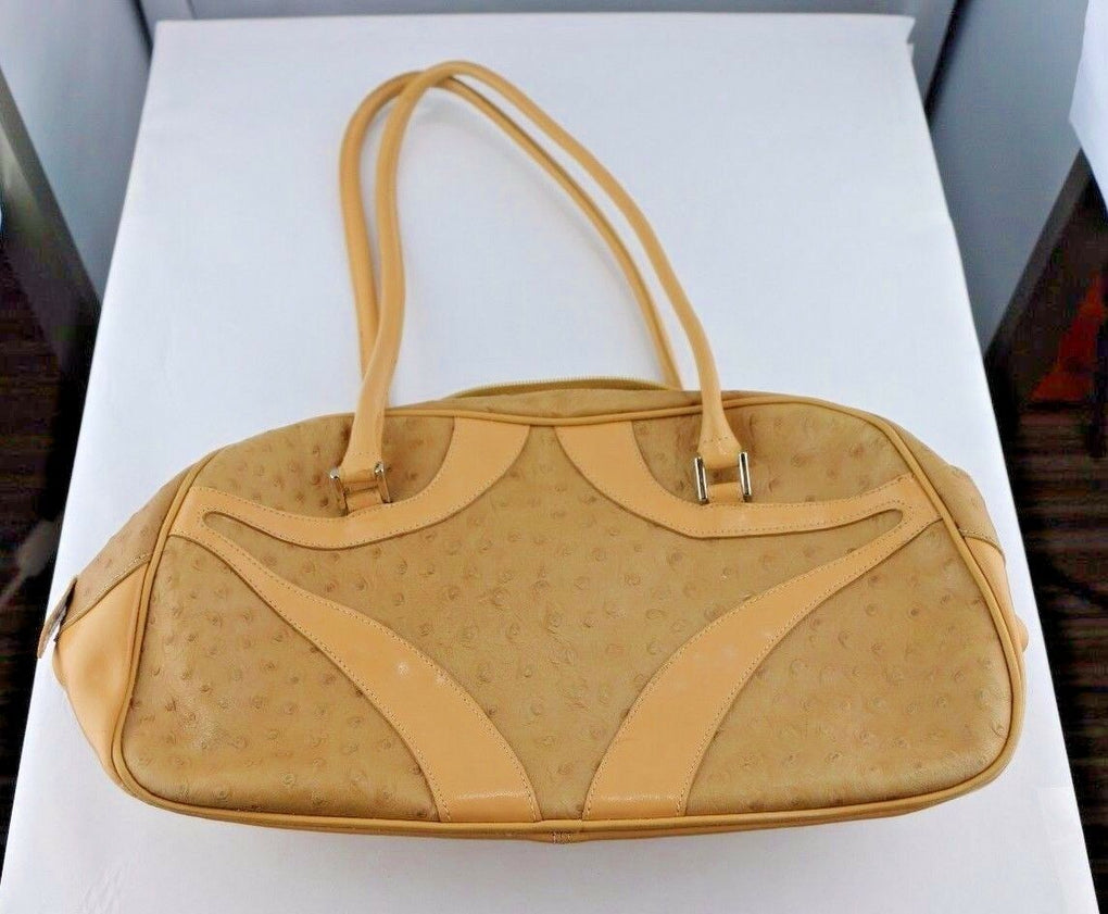 Bloomingdales Brown/Tan Satchel Handbag Shoulder Purse Ostrich Leather - Fazoom