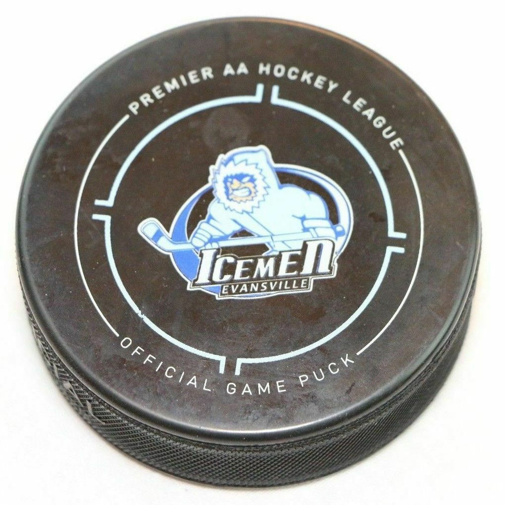 Evansville Icemen AA Minor League Hockey Official Game Puck w/ Ad on Back - Fazoom