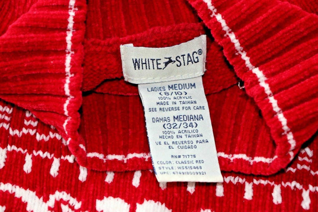 White Stag Women's Winter Sweater Red White Flower Pattern Design M 8/10 - Fazoom